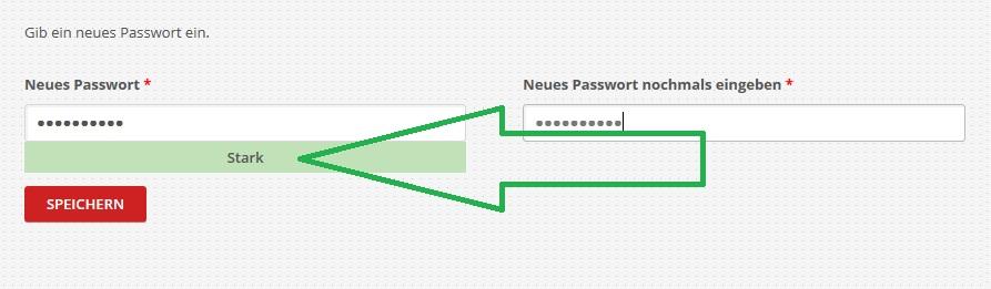 Anmeldung Schritt 4 - Ein starkes Passwort
