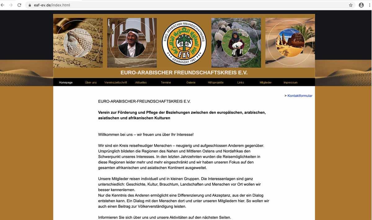 Screenshot der Webseite EURO-ARABISCHER-FREUNDSCHAFTSKREIS-e-v